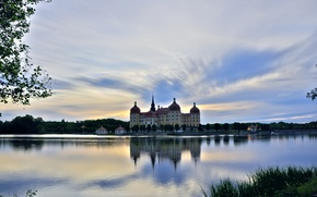 Picture the sky, trees, lake, castle, the evening, Germany, Moritzburg