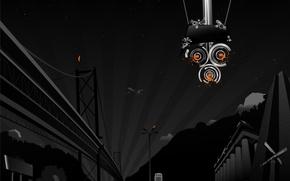 Wallpaper night, bridge, Vector