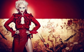 Wallpaper singer, girl, red dress, Gwen Stefani, Gwen Stefani, no doubt