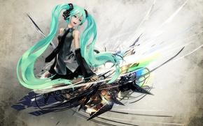 Picture girl, headphones, blue eyes, vocaloid, hatsune miku, redjuice, long hair, blue hair, art, Hatsune Miku