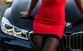 Picture girl, bmw, red dress