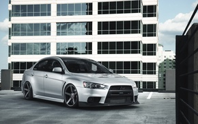 Picture the building, silver, Mitsubishi, Lancer, front, skyscraper, Lancer, Mitsubishi, silvery, Evolution X, evolution
