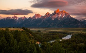 Picture forest, the sky, clouds, trees, mountains, river, field, USA, Grand Teton