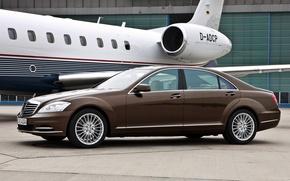 Picture car, machine, Mercedes, plane, S-class, car and plane