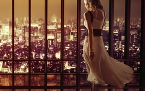 Picture the city, building, dress, window, panorama, night city
