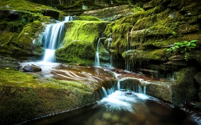 Picture stones, waterfall, moss, cascade, New York, the state of new York, Andes, Tompkins Falls, waterfall …