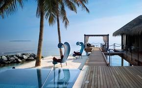 Wallpaper palm trees, the ocean, Villa, pool