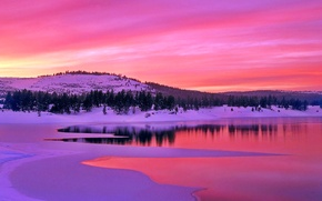 Picture winter, the sky, clouds, snow, trees, mountains, lake