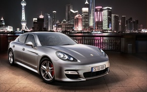 Wallpaper the city, lights, Porsche, silver