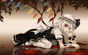 Picture skull, red eyes, touhou, art, vampire, a pool of blood, Flandre Scarlet, Kurehito Misaki