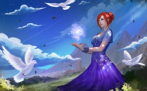 Picture the sky, clouds, magic, ball, dress, art, pigeons, girl. red