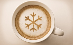 Picture foam, coffee, Cup, white, drink, cappuccino, snowflake