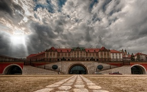 Wallpaper the sky, clouds, Poland, Warsaw, view from the Vistula, Royal Palace