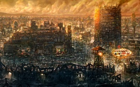 Picture the city, the game, the ruins, Fallout New Vegas, cult