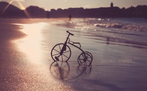 Picture sea, sunset, bike