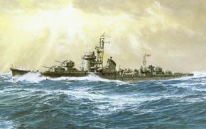 Picture ship, art, Navy, military, Japanese, destroyer, WW2, destroyer, IJN, Hanatsuki