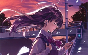 Picture the sky, girl, sunset, wire, anime, headphones, art, player, form, schoolgirl, misaki kurehito