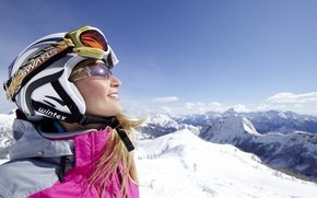 Picture winter, girl, snow, mountains, nature, sport