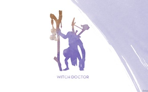 Picture minimalism, silhouette, art, staff, Dota 2, Witch Doctor