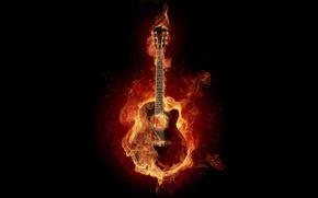 Picture called, ardiente, fire, digital effect, guitarra