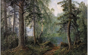 Picture forest, landscape, nature, river, art, JOHN KINDBORG