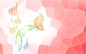 Picture flower, abstraction, butterfly, vector, point, stained glass butterfly