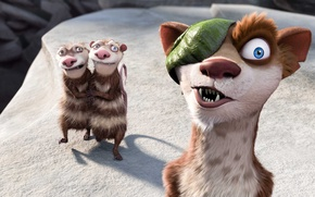 Wallpaper cartoon, ice age, Ice Age, weasel