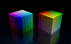 Wallpaper reflection, color, Cubes