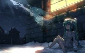 Picture winter, girl, light, snow, house, tears, window, art, Ghost, vocaloid, hatsune miku, you