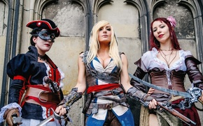 Picture dress, Assassin's Creed, cosplay, antique firearms, swords. pose, Jessica nigri