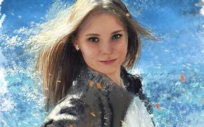 Picture portrait, ragged strokes, figure, girl, jacket, beautiful, art