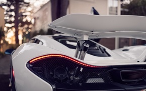 Picture white, lights, supercar, spoiler, back, Mclaren P1