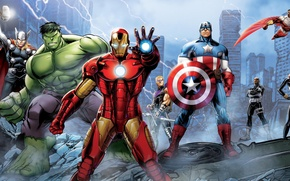 Picture the wreckage, the city, Falcon, the ruins, shield, Hulk, Hulk, Iron Man, comic, Falcon, Captain …