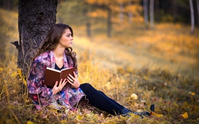 Wallpaper autumn, girl, reverie, tree, book