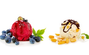 Picture chocolate, blueberries, ice cream, nuts, dessert, sweet