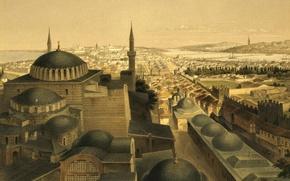 Picture the city, picture, panorama, mosque, Istanbul, Turkey, the minaret, Hagia Sophia, , While Agia Sophia