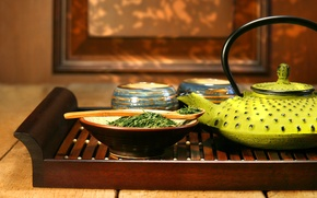 Picture tea, kettle, spoon, welding, tray, tea ceremony, bowls