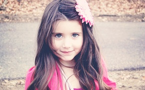 Picture flower, look, children, face, smile, background, pink, Wallpaper, mood, hair, brunette, girl, decoration, different, widescreen, ...