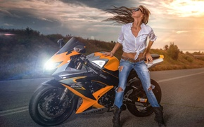 Picture road, girl, motorcycle