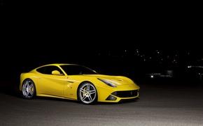 Picture night, yellow, ferrari, Ferrari, front view, yellow, tinted, F12 berlinetta, F12 Berlinetta