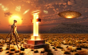 Picture sand, the sky, grass, clouds, mountains, desert, cross, alien, spacecraft, Remembering Roswell