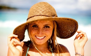 Picture girl, girl, hat, smile, face, fun, Alana Blanchard