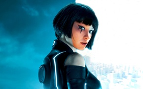 Picture look, the city, Girl, tattoo, Mirror's Edge, TRON