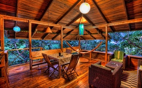 Wallpaper wicker furniture, veranda, stay, plants, relaxation, trees, lamps, tree, house, hammock