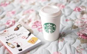 Wallpaper mug, books, mood, coffee Starbucks, starbucks, Cup, diary, bed, glass