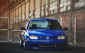 Picture blue, tuning, volkswagen, Golf, golf, the front, gti