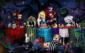Picture mouse, rabbit, tables, frogs, cake, Alice in Wonderland, Hatter, Cheshire
