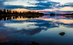 Picture the sky, clouds, trees, sunset, lake, glow