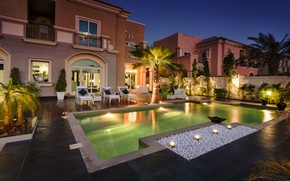 Picture palm trees, Villa, home, the evening, the pool