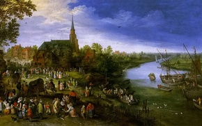 Picture river, people, boat, picture, Cathedral, Jan Brueghel the younger, River Landscape with Fair